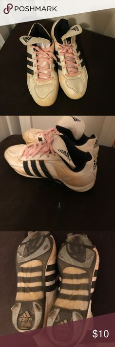 Adidas cleats Women's cleats.  Metal.  Size 10.5. Good shape.  Have some red clay on them.  Feel free to make an offer and bundle for a great deal adidas Shoes Athletic Shoes