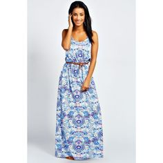 Boohoo Hayley Double Strap Printed Maxi Dress featuring polyvore, women's fashion, clothing, dresses, multi, evening dresses, rayon dress, rayon maxi dress, print maxi dress and cocktail dresses