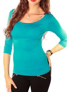 Damen 3-4 Arm Basic Rundhals Shirt Sleeve 3 4 Ärmel T-Shirt Langarm einfarbig - türkis