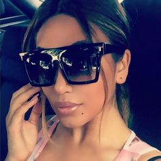 91e24647737 Black Flat Top Square Vintage Sunglasses Retro Sunglasses