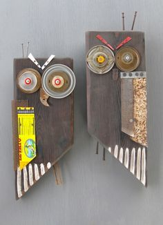 Sculpture for Wildlife Habitat - crafthaus Owl Crafts, Diy And Crafts, Arts And Crafts, Art Adulte, Wood Owls, Trash Art, Scrap Wood Projects, Junk Art, Pallet Crafts