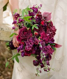Rosa • Lathyrus • Syringa • http://1.bp.blogspot.com/--3xC1RUW18k/TzQPx2oVeFI/AAAAAAAAH0o/751J4V5X1b0/s1600/stunning-wedding-bouquet-purple-red-49.jpg