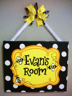Bumble Bee Themed Name Plaque/Sign for Teachers by KraftinMommy, $35.00
