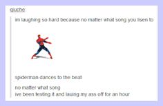 Spider-Man dances to the beat...