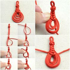 How to make Cute Knot Pendant step by step DIY tutorial instructions, How to, ho Jewelry Knots, Macrame Jewelry, Fabric Jewelry, Jewelry Crafts, Handmade Jewelry, Earring Tutorial, Bracelet Tutorial, Diy Tutorial, Macrame Knots