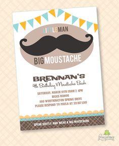 Mustache Moustache Bash Custom Printable by FrogPrincePaperie, $13.50