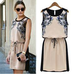 A 082804 aaa Quality chiffon sleeveless dress temperament