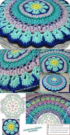 El tapiz 'Африканский цветок' de cinta o futbolochnoy los hilados Crochet Mandala Pattern, Crochet Circles, Crochet Chart, Crochet Stitches, Crochet Patterns, Crochet Home, Love Crochet, Crochet Gifts, Crochet Flowers