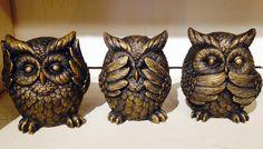 Hear no evil, See no evil, Speak no evil owl set!