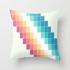 Retro Rainbow Throw Pillow by bitart Scandinavian Bedroom, Scandinavian Design, White Bedding, You Are Awesome, Modern Minimalist, Great Artists, Duvet Covers, Bed Pillows, Bedroom Decor