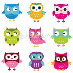 Cute owls set — Stock Illustration #39946837