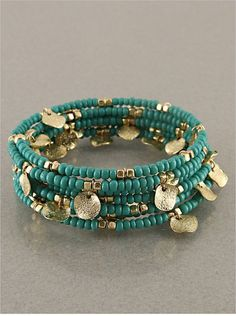 Turquoise & Gold Ban  Turquoise & Gold Bangle Bracelet by StringofLove on Etsy, $25.00