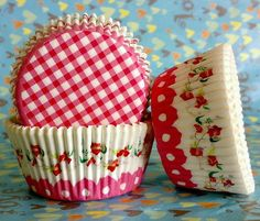 Gingham floral Cupcake Liners cases Baking Cups 48 by GORGEOUSCUPS