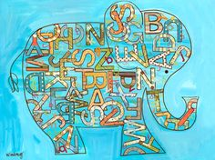 Inspiration for DIY Canvas...Blue Alphabet Elephant - Jungle Canvas Wall Art | Oopsy daisy -