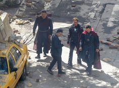 "Cast members of the upcoming ""Avengers: Infinity War"" were on the set during filming in downtown Atlanta, Monday. Benedict Wong, portraying Wong, Mark Ruffalo, portraying The Hulk/Bruce Banner, Benedi"