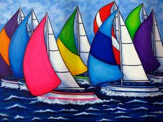 Colorful Regatta Painting Lisa Lorenz