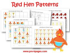 Printable Little Red Hen Pattern Activities for preschool and kindergarten
