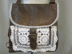 Distressed leather LOOK lace trimmed backpack handbag vintage look purse retro crochet doily and venise lace trims upcycled OOAK.