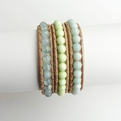 March Birthstone - Aquamarine. Blue Aquamarine, Lemon Chrysoprase and Amazonite Beaded Stone Wrap Bracelet
