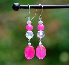Faceted pink quartz earrings, pink jade earrings, sterling silver earrings, swarovski earrings, fancy earrings, magenta earrings, handmade by KarmaKittyJewelry on Etsy