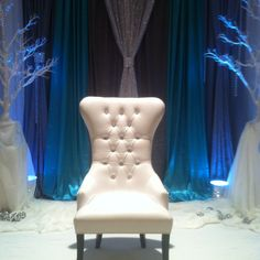 Maybe we can lose the chair, but the back round, o. Ice Princess, Princess Wedding, Winter Wonderland Theme, Wedding Wows, Wood Bridge, Winter White, Real Weddings, Wedding Stuff, Wedding Decorations