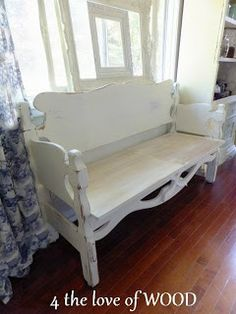 painted bench made out of headboard and footboard - Site Title Furniture Projects, Furniture Making, Furniture Makeover, Diy Furniture, Automotive Furniture, Wood Projects, Modern Furniture, Furniture Design, Headboard Benches