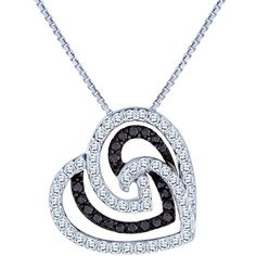 0.35 Carat TW, 10k White Gold Diamond Heart Pendant with Chain featuring Black Diamonds