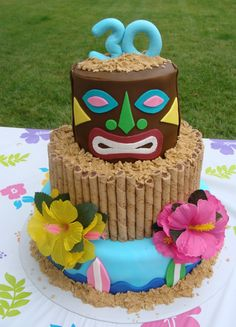 I made this cake for my brother who turned the big 30 this year. His wife threw him a tropical luau party - this cake was really fun to do. Luau Theme Party, Hawaiian Luau Party, Tiki Party, Hawiian Party, Beach Party, Hawaiian Birthday, Hawaiian Theme, Aloha Party, Luau Birthday Cakes