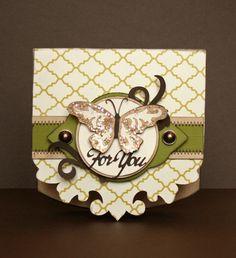 Pretty butterfly card by Jana Eubank. Sentimentals Cricut Cartridge (card shape, label, butterfly, flourish, sentiment)