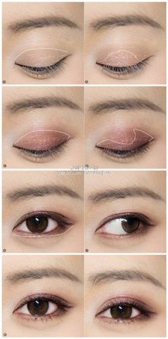 Korean make up, how to use a 4 color gradient palette Asian Makeup Looks, Asian Eye Makeup, Asian Makeup Tutorials, Ball Makeup, Monolid Makeup, Korean Make Up, Beautiful Eye Makeup, Lots Of Makeup, Makeup Techniques