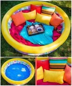22 idées d'aires de jeux extérieures DIY pour enfants A relaxation corner for children with an inflatable swimming pool and cushions. 22 ideas of DIY outdoor play areas for children … Outdoor Play Areas, Outdoor Rooms, Outdoor Decor, Outdoor Ideas, Diy Home Decor Projects, Diy Projects To Try, Diy Pour Enfants, Outdoor Summer Activities, Outdoor Movie Nights