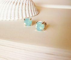 Mermaid's Lagoon - Pacific Opal Swarovski Crystal Stud Earrings Aqua Mint Seafoam Green Elegant Romantic Whimsical Dreamy Mermaid Collection