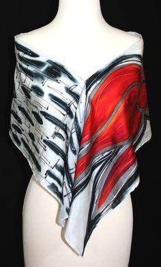 Red Silk Scarf. Hand Painted Silk Scarf. Black White Silk