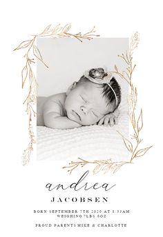 Golden Outline Branches - Birth Announcement Card #announcements #printable #diy #template #birth #baby #birthannouncements