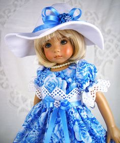 Blue dress fits Effner 13, Betsy McCall.Little Darling  LittleCharmersDoll Desgn #LittleCharmersDollDesigns
