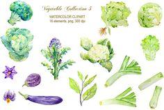 hand painted watercolor vegetables lettuce leeks by CornerCroft