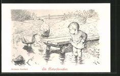 Künstler-AK Hermann Kaulbach: Ein Naturforscher, Kleinkind mit Ente und Gans am…
