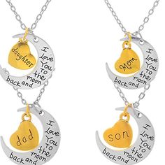 Xiehou I Love You to the Moon and Back Mom Daughter Dad Son Heart Crescent Family Charm Necklace Set of 4 Xiehou http://www.amazon.com/dp/B00WRAY9M6/ref=cm_sw_r_pi_dp_8qLpvb19AW18H
