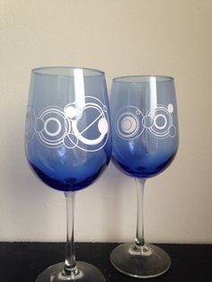 Mr and Mrs wine glasses in linear Gallifreyan inspired fong by SimplyGlassic on Etsy, $22.00  Doctor Who Wedding