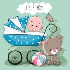 Greeting card it is a boy with baby carriage and cat Baby Shower Unisex, Baby Shower Gifts, Bebe Baby, Mom And Baby, Pregnancy Art, Blue Nose Friends, Baby Posters, Baby Stickers, Boy Drawing