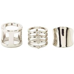 Charlotte Russe Rhinestone, Caged & Shield Rings - 3 Pack (€5,59) ❤ liked on Polyvore featuring jewelry, rings, anillos, silver, polish jewelry, triple ring, band rings, trio rings and caged jewelry