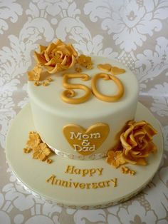 Golden wedding anniversary cake  - Cake by Cakes by Verity