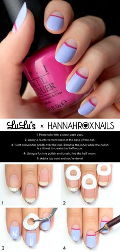 Lavender and Fuchsia Half Moon Nail Art. This is such a easy and fun mani! Must Lavender and Fuchsia Half Moon Nail Art. This is such a easy and fun mani! Nail Art Diy, Easy Nail Art, Cool Nail Art, Diy Nails, Cute Nails, Pretty Nails, Nail Art Designs, Nails Decoradas, Moon Nails
