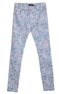Blue Button Fly Floral Pencil Pant