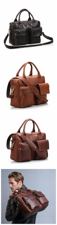 Handmade Top Grain Leather Briefcase Messenger Bag Men's Handbag 15'' Laptop Bag NZ04