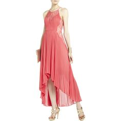 Bcbg Maxazria Maryella Deep Coral Pleat and Lace Dress RACKGA/49 ($160) ❤ liked on Polyvore featuring dresses, gowns, coral, red halter gown, halter dress, coral lace dress, halter top et red evening gowns
