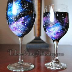 Galaxy, Space, universe, nebula from TulaczFineArts on Etsy. Galaxy Wedding, Geek Wedding, Wedding Ideas, Diy Galaxy, Galaxy Crafts, Pottery Painting Designs, Hand Painted Wine Glasses, Galaxy Painting, Bottle Painting