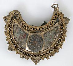 One of a Pair of Crescent-Shaped Earrings with Rosettes  Date: 12th century Culture: Kievan Rus' or Byzantine Medium: Cloisonné enamel, silver gilt
