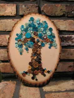 Your place to buy and sell all things handmade Button Art, Button Crafts, Button Tree Canvas, Crafts To Make, Arts And Crafts, Types Of Buttons, Button Picture, Mosaic Crafts, Green Button