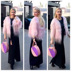 Andreea Banica in pink goat coat